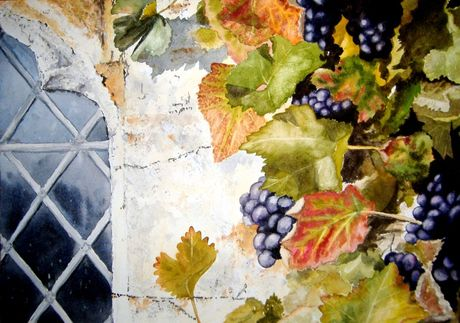Watercolour painting showing grapes and autumn leaves at Lytes Cary Manor in Somerset